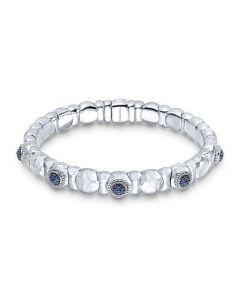 Gabriel & Co Silver & Stainless Steel Sapphire Bangle