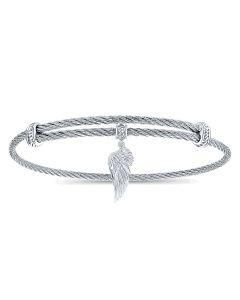Gabriel & Co Silver & Stainless Steel Soho Angel Wing Charm Bracelet