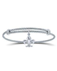Gabriel & Co Silver & Stainless Steel Soho Fleur-de-Lis Charm Bracelet