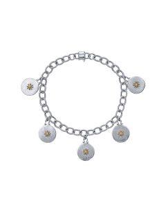 Gabriel & Co Sterling & 18K Yellow Gold Victorian Charm Bracelet