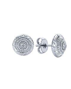 Gabriel & Co Sterling Silver White Sapphire Rope Bullseye Stud Earrings