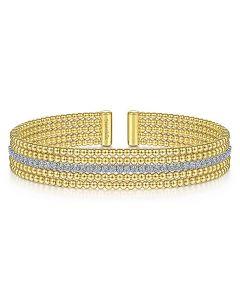 Gabriel & Co 14K Two Tone Bujukan Diamond Channel Cuff Bracelet