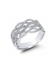Gabriel & Co 14K White Gold Twisted Texture Diamond Ring
