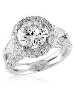 Gregg Ruth Split Shank Engagement Ring with Bullet Diamonds