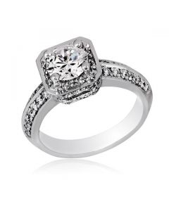 Gregg Ruth Platinum Semi-Mount Engagement Ring with CZ Center