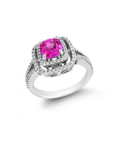 Gregg Ruth 18 Karat White Gold Diamond Halo & Pink Sapphire Ring
