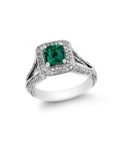 Gregg Ruth 18 Karat White Gold Emerald & Diamond Halo Ring