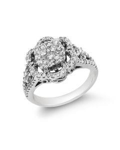 Gregg Ruth 18K White Gold Diamond Cluster Ring