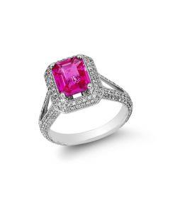 Gregg Ruth 18KWG Pink Sapphire & Diamond Halo Ring