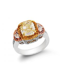 Gregg Ruth Platinum & 18K Two Tone Gold Fancy Tiered Ring