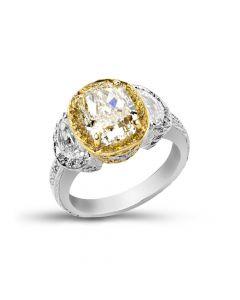 Gregg Ruth Platinum & 18K Yellow Gold Three Stone Diamond Ring