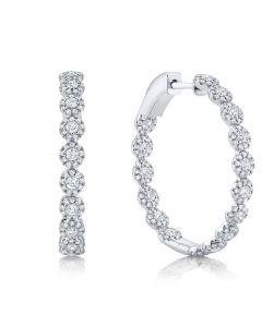 Shy Creation 14K White Gold Diamond Halo Inside/Outside Earrings