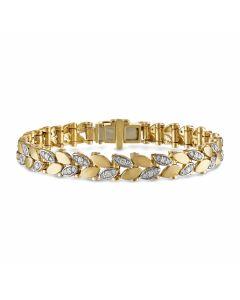 Kaspar & Esh 14K Yellow Gold Satin Leaf Diamond Link Bracelet
