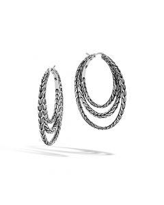 John Hardy Sterling Silver Classic Chain Triple Hoop Earrings