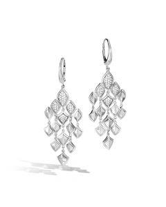 John Hardy Sterling Silver Legends Naga Diamond Chandelier Earrings