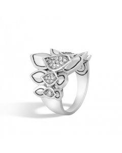 John Hardy Sterling Silver Naga Small Diamond Saddle Ring
