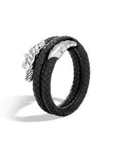John Hardy Legends Naga Black Leather Double Coil Bracelet
