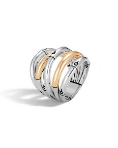 John Hardy Sterling/18KYG Bamboo Wide Ring