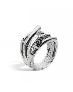John Hardy Sterling Silver Bamboo Black Sapphire Ring