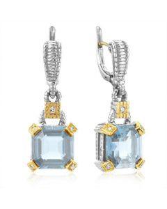Judith Ripka Sterling Silver and 18KYG Blue Topaz and Diamond Montana Earrings