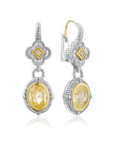 Judith Ripka 18KYG and Sterling Silver Clover Top Earrings