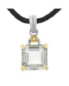 Judith Ripka Sterling Silver and 18KYG Green Amethyst and Diamond Pendant