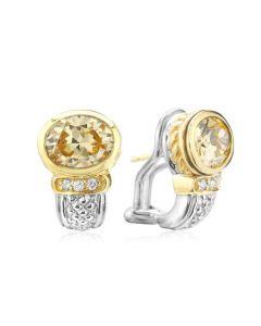 Judith Ripka Sterling Silver and 18KYG Medium Oval Crystal and Diamond Earrings