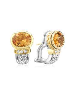 Judith Ripka Sterling Silver and 18KYG Oval Honey Citrine and Diamond Earrings
