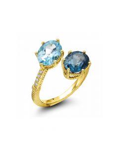 Judith Ripka 18KYG Flora Collection Bypass Swiss Blue Topaz & London Blue Topaz Ring