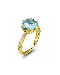 Judith Ripka 18KYG Flora Collection Checkboard Swiss Blue Topaz Ring