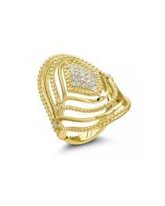 Judith Ripka 18KYG Stella Collection Diamond Set Domed Ring