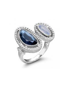 Judith Ripka Sterling Silver Capri Collection Blue Quartz Over Hematite & Blue Chalcedony Ring