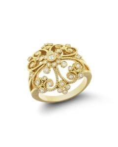Leslie Greene 18 Karat Yellow Gold Sascha Cocktail Ring