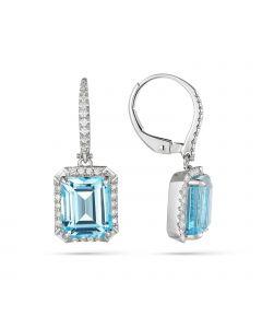 Luvente 14KWG Blue Topaz Diamond Halo Earrings