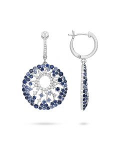 Luvente 14KWG Sapphire & Diamond Round Drop Earrings