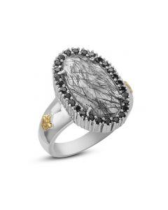 Phillip Gavriel Sterling Silver & 18KYG Rock Candy Rutilated Quartz Fleur-De-Lis Ring