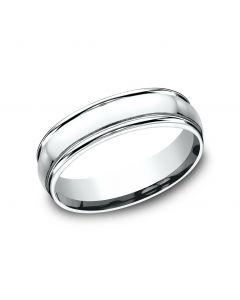 6mm 10K White Gold Comfort-Fit Design Wedding Band