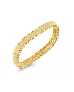 Roberto Coin 18KYG Princess Satin Finish Diamond Bangle