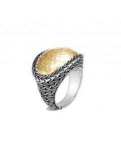 John Hardy Ster/18KYG Hammered Dome Ring