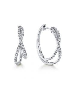 Shy Creation 14K White Gold Oval Crossover Diamond Hoop Earrings