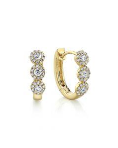 Shy Creation 14K Yellow Gold Triple Halo Diamond Huggie Earrings