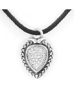 Scott Kay Sterling Silver Diamond Pear-Shaped Basket-Weave Pendant