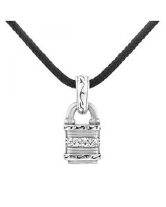 Scott Kay Sterling Silver Diamond Engraved Lock Pendant