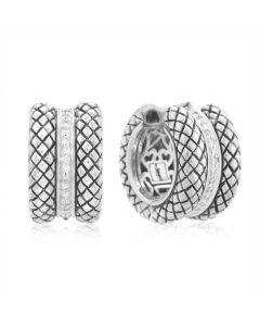 Scott Kay Sterling Silver Basket-Weave Medium Hoop Earrings with Diamond
