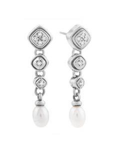 Scott Kay Sterling Silver Pearl Drop Earrings with Diamond