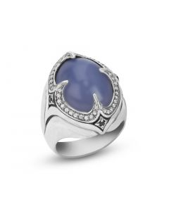 Scott Kay Sterling Ring with Blue Chalcedony Center & White Sapphire Gemstones