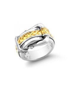 Scott Kay Sterling Silver & 18K Yellow Gold Diamond Buckle Ring