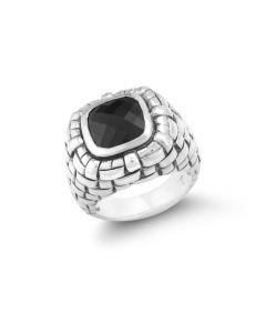 Scott Kay Sterling Silver Black Onyx Basket Weave Ring