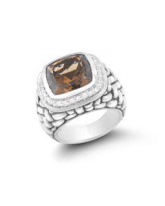 Scott Kay Sterling Silver Curved Weave Smokey Quartz Ring
