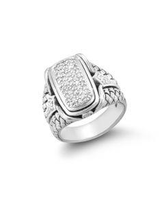Scott Kay Sterling Silver Diamond Rectangular Ring